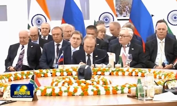 A prominently placed camera at the BRICS International Conference